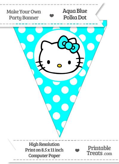 Aqua Blue Polka Dot Pennant Flag with Hello Kitty from PrintableTreats.com