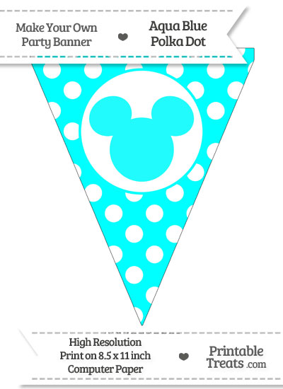 Aqua Blue Polka Dot Pennant Flag with Mickey Mouse from PrintableTreats.com