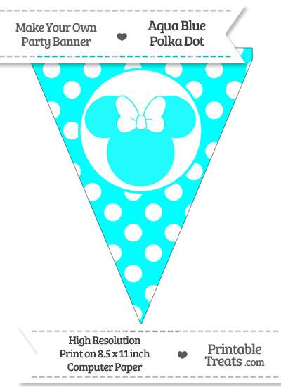 Aqua Blue Polka Dot Pennant Flag with Minnie Mouse from PrintableTreats.com