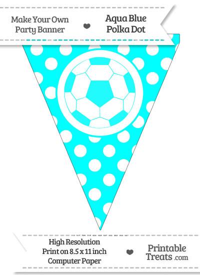 Aqua Blue Polka Dot Pennant Flag with Soccer Ball from PrintableTreats.com