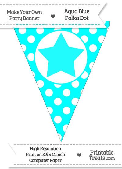 Aqua Blue Polka Dot Pennant Flag with Star from PrintableTreats.com