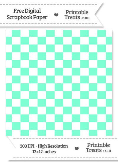 Aquamarine Checkered Pattern Digital Paper from PrintableTreats.com