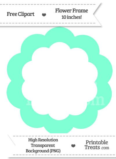 Aquamarine Flower Frame Clipart from PrintableTreats.com
