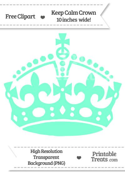 Aquamarine Keep Calm Crown Clipart from PrintableTreats.com