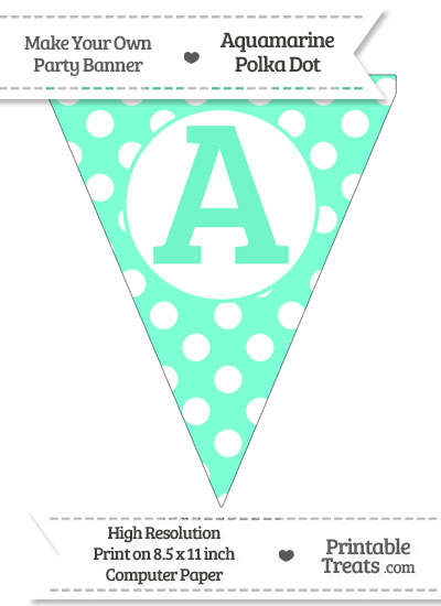 Aquamarine Polka Dot Pennant Flag Capital Letter A from PrintableTreats.com