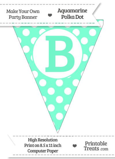 Aquamarine Polka Dot Pennant Flag Capital Letter B from PrintableTreats.com