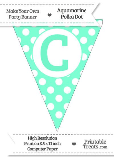 Aquamarine Polka Dot Pennant Flag Capital Letter C from PrintableTreats.com