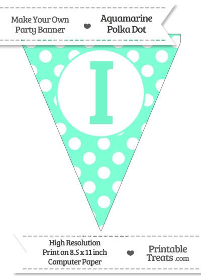 Aquamarine Polka Dot Pennant Flag Capital Letter I from PrintableTreats.com