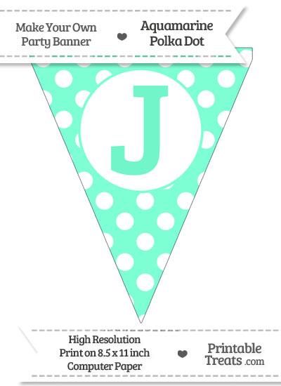 Aquamarine Polka Dot Pennant Flag Capital Letter J from PrintableTreats.com