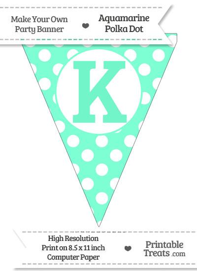 Aquamarine Polka Dot Pennant Flag Capital Letter K from PrintableTreats.com