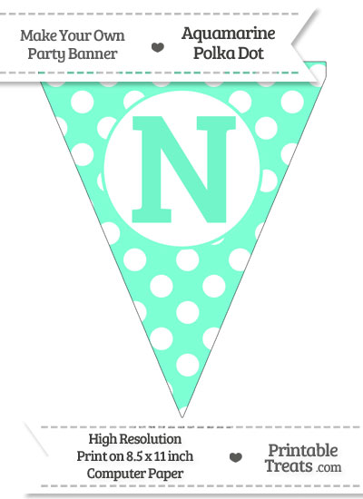 Aquamarine Polka Dot Pennant Flag Capital Letter N from PrintableTreats.com
