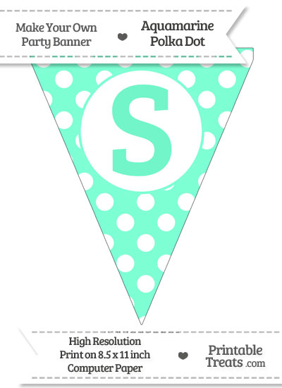 Aquamarine Polka Dot Pennant Flag Capital Letter S from PrintableTreats.com