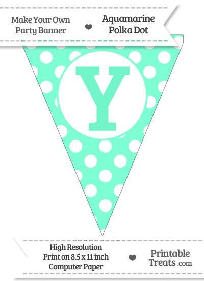 Aquamarine Polka Dot Pennant Flag Capital Letter Y from PrintableTreats.com