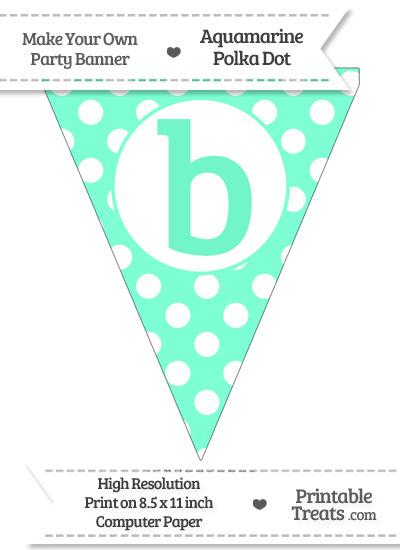 Aquamarine Polka Dot Pennant Flag Lowercase Letter B from PrintableTreats.com