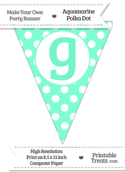 Aquamarine Polka Dot Pennant Flag Lowercase Letter G from PrintableTreats.com