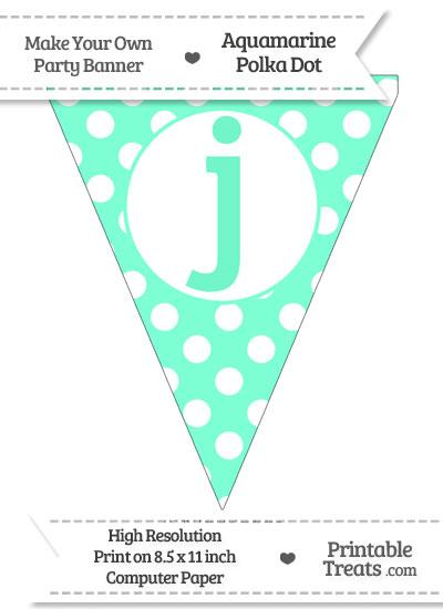 Aquamarine Polka Dot Pennant Flag Lowercase Letter J from PrintableTreats.com