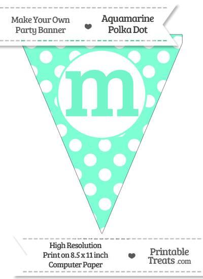 Aquamarine Polka Dot Pennant Flag Lowercase Letter M from PrintableTreats.com