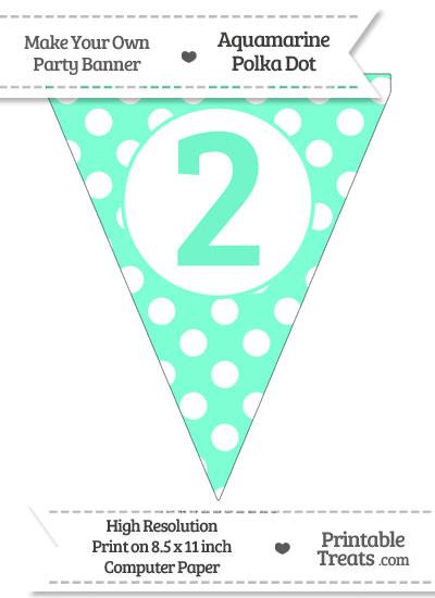 Aquamarine Polka Dot Pennant Flag Number 2 from PrintableTreats.com