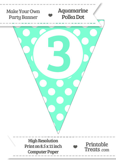 Aquamarine Polka Dot Pennant Flag Number 3 from PrintableTreats.com