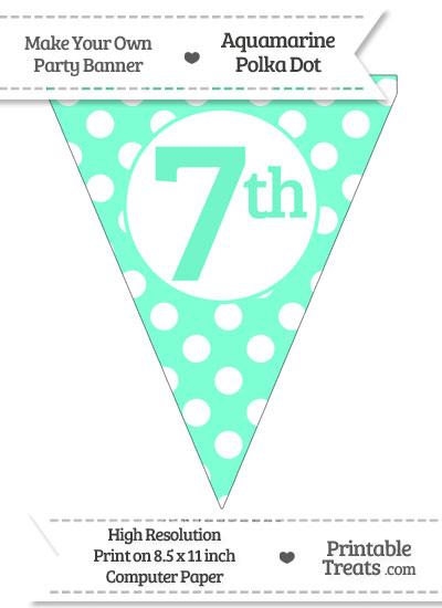 Aquamarine Polka Dot Pennant Flag Ordinal Number 7th from PrintableTreats.com