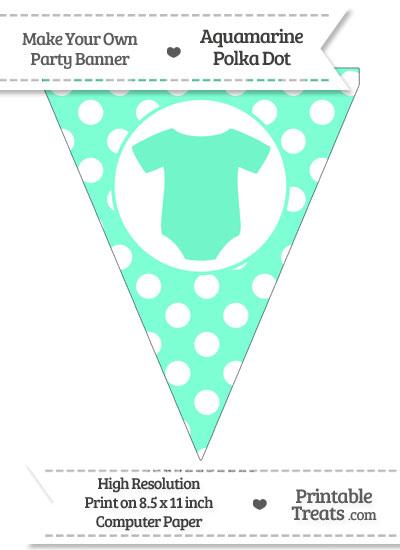Aquamarine Polka Dot Pennant Flag with Baby Onesie from PrintableTreats.com