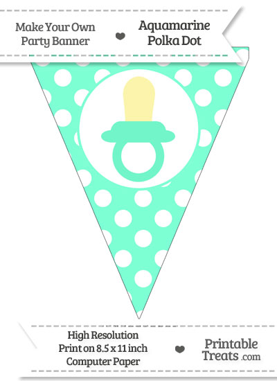 Aquamarine Polka Dot Pennant Flag with Baby Pacifier from PrintableTreats.com