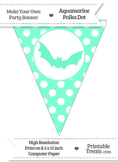Aquamarine Polka Dot Pennant Flag with Bat from PrintableTreats.com