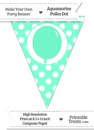 Aquamarine Polka Dot Pennant Flag with Birthday Balloon from PrintableTreats.com