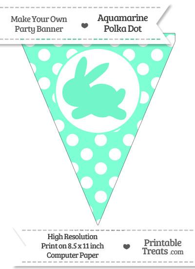 Aquamarine Polka Dot Pennant Flag with Bunny Facing Left from PrintableTreats.com