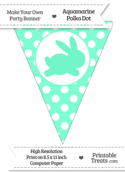 Aquamarine Polka Dot Pennant Flag with Bunny Facing Right from PrintableTreats.com