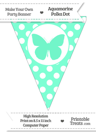 Aquamarine Polka Dot Pennant Flag with Butterfly from PrintableTreats.com