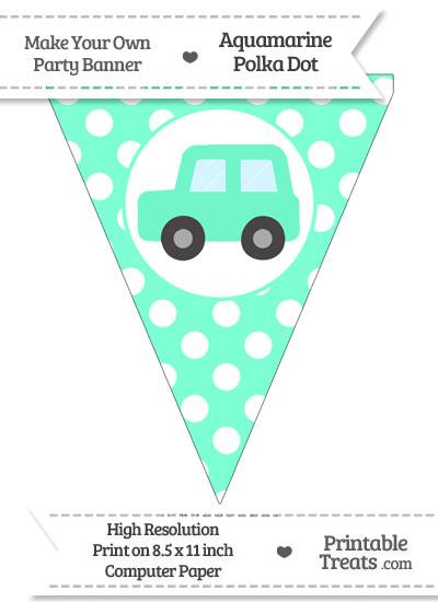 Aquamarine Polka Dot Pennant Flag with Car Facing Left from PrintableTreats.com