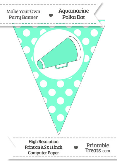 Aquamarine Polka Dot Pennant Flag with Cheer Megaphone Facing Right from PrintableTreats.com