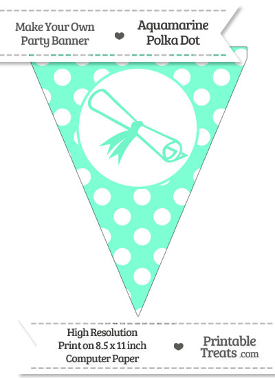 Aquamarine Polka Dot Pennant Flag with Diploma from PrintableTreats.com