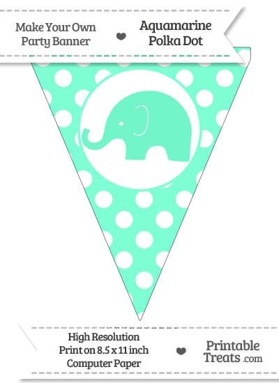Aquamarine Polka Dot Pennant Flag with Elephant Facing Left from PrintableTreats.com