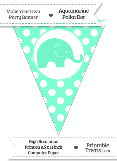 Aquamarine Polka Dot Pennant Flag with Elephant Facing Right from PrintableTreats.com