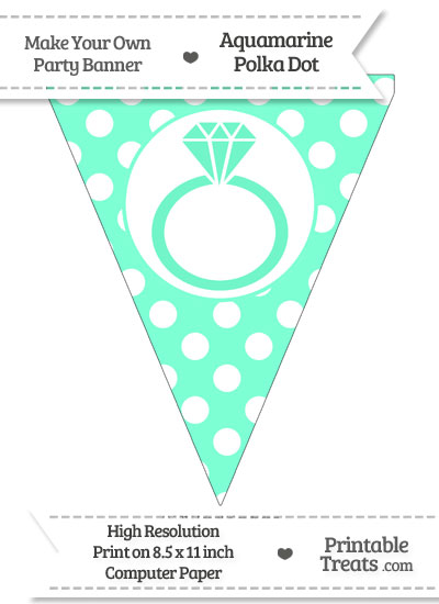 Aquamarine Polka Dot Pennant Flag with Engagement Ring from PrintableTreats.com
