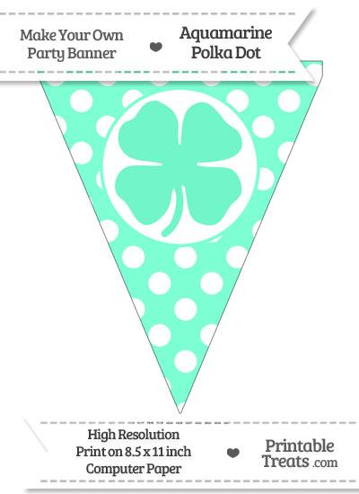Aquamarine Polka Dot Pennant Flag with Four Leaf Clover Facing Right from PrintableTreats.com