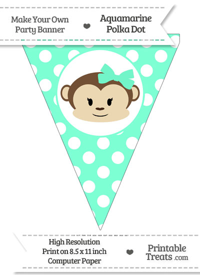 Aquamarine Polka Dot Pennant Flag with Girl Monkey from PrintableTreats.com