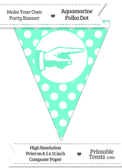 Aquamarine Polka Dot Pennant Flag with Hand Pointing Right from PrintableTreats.com