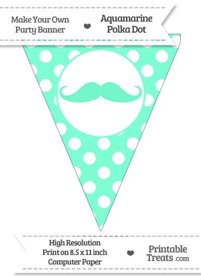 Aquamarine Polka Dot Pennant Flag with Handlebar Moustache from PrintableTreats.com