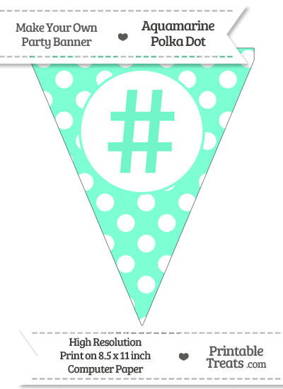 Aquamarine Polka Dot Pennant Flag with Hash Character from PrintableTreats.com