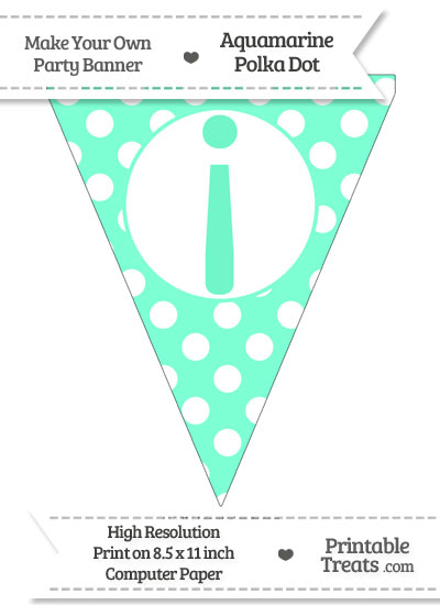 Aquamarine Polka Dot Pennant Flag with Inverted Exclamation Mark from PrintableTreats.com
