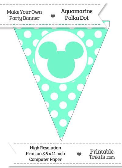 Aquamarine Polka Dot Pennant Flag with Mickey Mouse from PrintableTreats.com