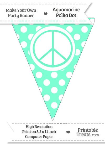 Aquamarine Polka Dot Pennant Flag with Peace Sign from PrintableTreats.com
