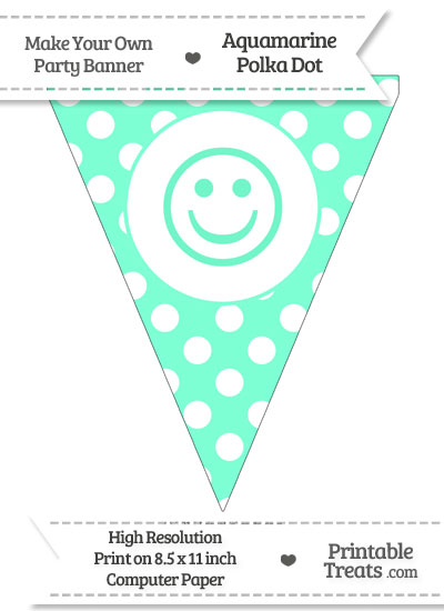 Aquamarine Polka Dot Pennant Flag with Smiley Face from PrintableTreats.com
