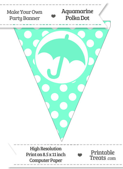 Aquamarine Polka Dot Pennant Flag with Umbrella from PrintableTreats.com