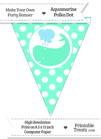Aquamarine Polka Dot Pennant Flag with Whale Facing Left from PrintableTreats.com
