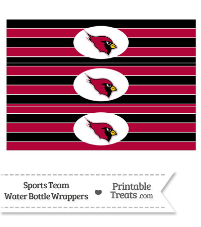 Arizona Cardinals Water Bottle Wrappers from PrintableTreats.com