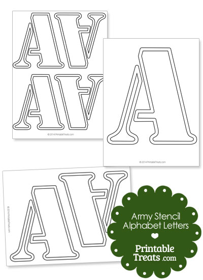 Army Stencil Outline Letter A from PrintableTreats.com
